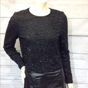 Lauren Ralph Lauren Glamour Black Beaded Top Siz S